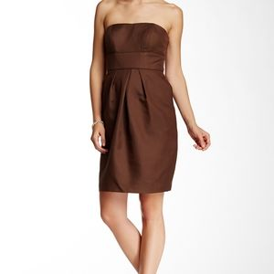 Alfred Angelo Brown Strapless Cocktail Dre…